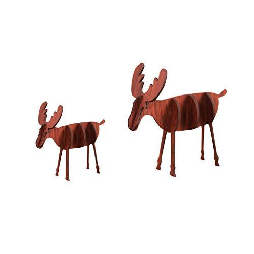 Iusun 2PC Wooden DIY Mini Elk Assemble Tabletop Merry Christmas Decoration Ornaments Birthday Present Bedroom Desk Scene Dress Up Decor for Home Office Supplies Gift Box (C)