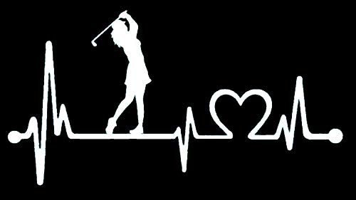 Mujer golfista K1080Mujer Heartbeat Lifeline adhesivo