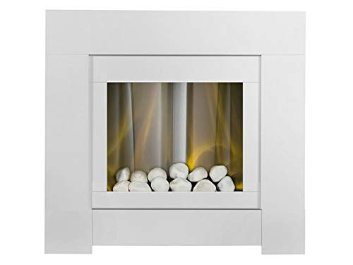 Adam Brooklyn Electric Fireplace Suite in Pure White, 30 Inch