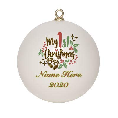 Custom Baby's First Christmas Ornament 2020 Keepsake with Gift Box | Personalized with Baby Name | Shatterproof 2020 Christmas Ball Ornament