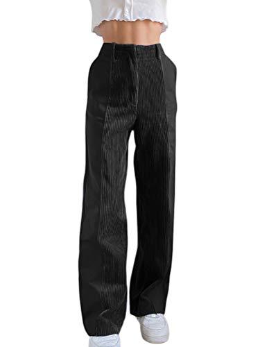 Onsoyours Cordhosen Damen Mode Einfarbig Lose Hosen Mit Taschen Elastischer Bund Mittlere Taille Casual Clubwear Streetwear Hosen Schwarz S