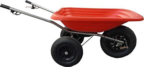 Smartwiel Carriola elettrica a motore KLASIK, Carriola da giardino Carriola a Batteria agli ioni di litio, 500 W (85 l, Rosso)