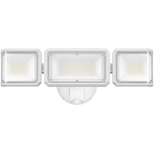 LEPOWER 42W LED Flood Light Outdoor, Switch Controlled LED Security Light, Innovative Head Design, 4200LM Super Bright Exterior Flood Light with 3 Heads, 5000K, IP65 Waterproof for Garage, Yard