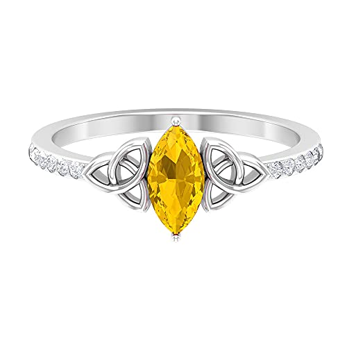 1 CT Celtic Knot Ring with Marquise Shape Created Yellow Sapphire Solitaire, Diamond Accent Ring (AAAA Quality), 14K White Gold, Size:US 6.0