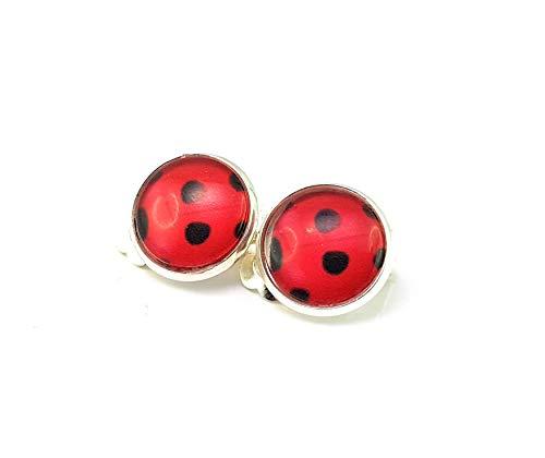 Stechschmuck Ohrclips Ohrklemmen Handmade Rot Schwarz Lady Bug Ladybug Miraculous Silber Farben Punkte Polka Dots Damen Kinder Kitsch Kawaii 14mm 1 Paar
