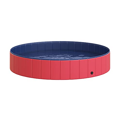 PawHut Pet Swimming Pool Dog Bathing Tub 12' x 63' All-Purpose Collapsible PVC Red / Dark Blue