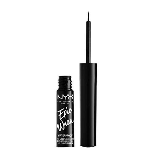 NYX Professional Makeup Epic Wear Semi-Permanent Liquid Liner, Langlebig, Wasserfest, Eyeliner und Body Art für Gesicht und Körper, Mattes Finish, Farbe: Schwarz
