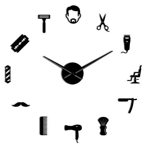 Etiqueta de Pared Universal Mural de decoración de Peluquería Masculina sin fragua Acrílico Simple 3D DIY Relojes de Pared Pelo Estilista Pelo Salón Decoración Sleep Espejo Efecto Reloj Reloj Dibujos