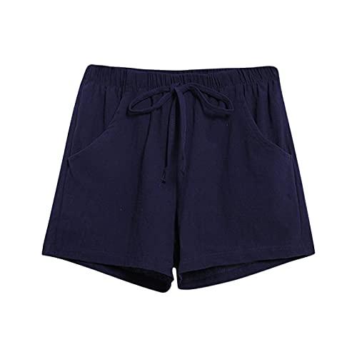 Pantalones Verano Mujer Anchos con Cordón y Bolsillos El Lino de Algodón de Las Señoras Jadea La Cintura Elástica Que Adelgaza Los Pantalones Cortos Casuales