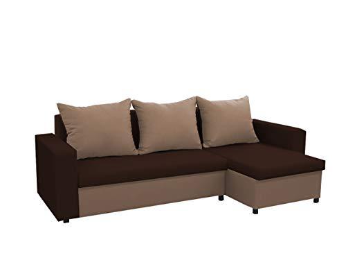 mb-moebel kleines Ecksofa Sofa Eckcouch Couch mit Schlaffunktion und Zwei Bettkasten Ottomane L-Form Schlafsofa Bettsofa Polstergarnitur LARS (Braun +...