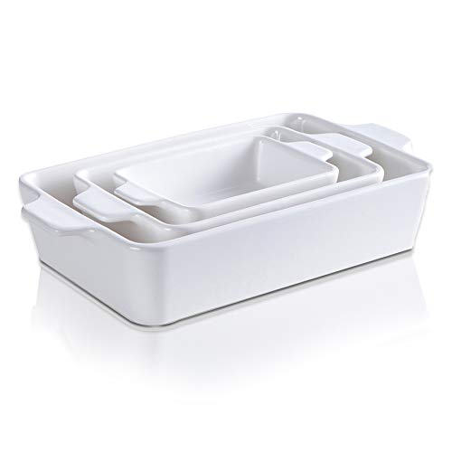 Ceramic Glaze Bakeware Set,SIDUCAL,Non-stick Bread Baking Pans,Roasting dish,3 Pieces Baking Dishes-White