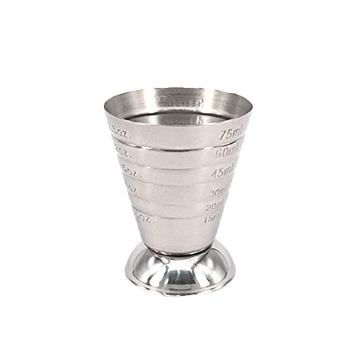 Measuring Cup Stainless Steel Cocktail Jigger Liquid Mini Espresso Shot Glass Up to 2.5oz 75ml 1PC