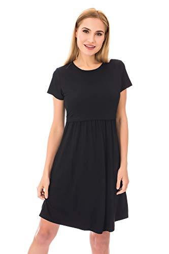 Bearsland Women's Short Sleeves Maternity Dress Nursing Breastfeeding Dresses with Pockets,Black,L