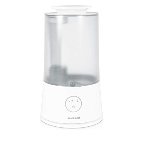 Miniland - Humitop - Humidificador Ultrasónico de Fácil Uso, com Llenado Superior, Luz de com pañía, Aromaterapia y Autonomía de Más de 24h, Blanco