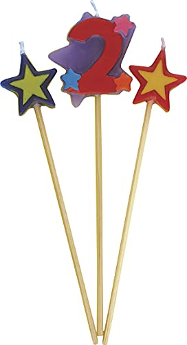 Unique Party 34042 - Number 2 Star Birthday Candles Set of 3