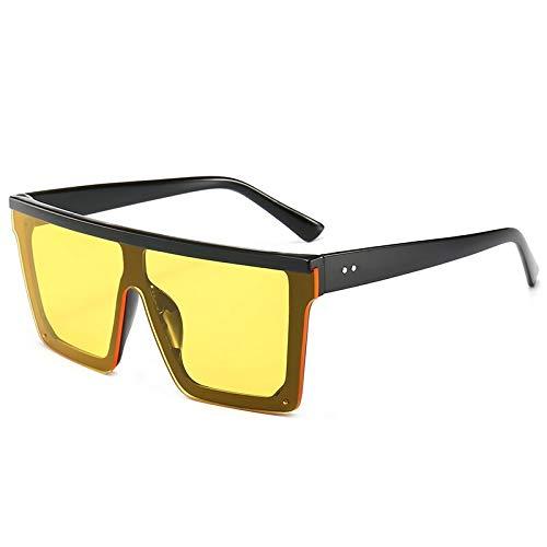 CNBKMG Oversize Square Frame Flat Top Top Sunglasses Women Men Retro Sun Glasses-Yellow