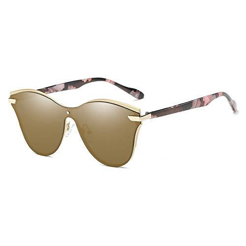 LCSD Gafas de sol polarizadas combinadas, estilo retro, curvo, marco grande, unisex, protección UV400, marco dorado, patrón de patas (color: marrón)