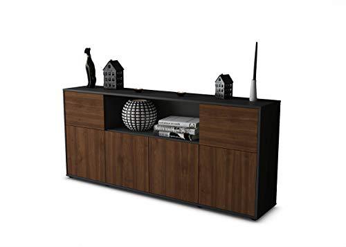 Stil.Zeit Sideboard Ernie/Korpus Anthrazit matt/Front im Holz-Design Walnuss (180x79x35cm) Push-to-Open Technik & Leichtlaufschienen