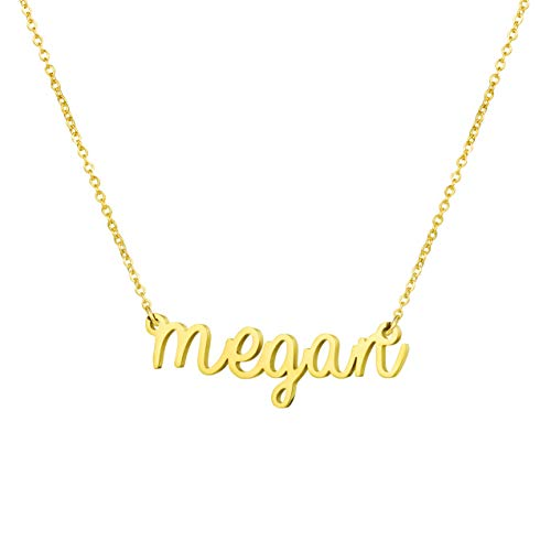 Personalized Name Necklace 18K Gold Plated New Mom Bridesmaid Gift Jewelry for Megan