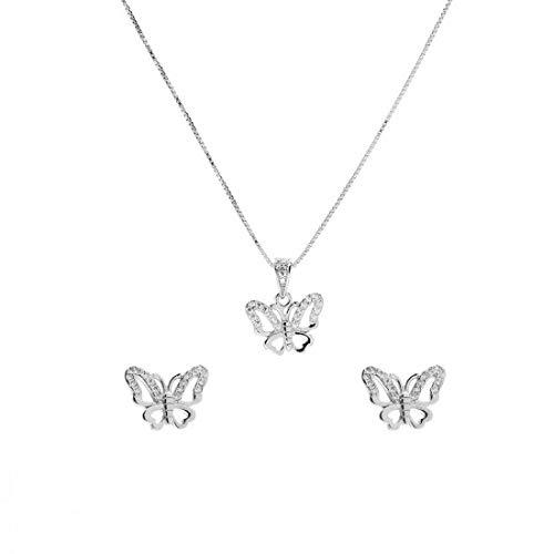 Juego de collar y pendientes de mariposa de plata 925 con circonitas blancas, juego de collar y pendientes de plata. Longitud del collar: 45 cm, pendientes de 9,5 mm
