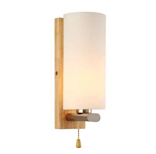 MGWA Luces de Pared Lámpara De Pared Creativa Moderna Lámpara De Pared Redonda De Madera con Interruptor Lámpara De Madera Maciza Cuerpo De Vidrio, Luz Cálida, A