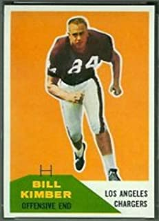 1960 Fleer Regular (Football) Card# 121 Bill Kimber of the Los Angeles Chargers Ex Condition