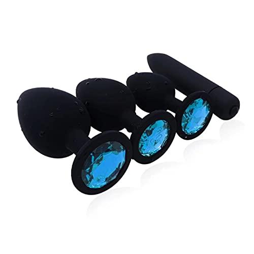 JMHH Traje de Cuatro Piezas, Impermeable de Cuerpo Completo, con Gemas en La Parte Inferior, Azul