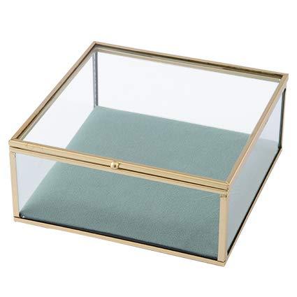 Baroni Portagioie in Ferro e Velluto Scatola Tiffany in Vetro 20x20x5cm