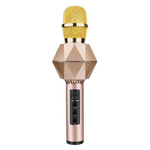 Draadloze karaoke-microfoon, Bluetooth draagbare handluidspreker, tv-speler met ledlampjes voor kinderfeestjes, compatibel met Android- en iOS-apparaten goud