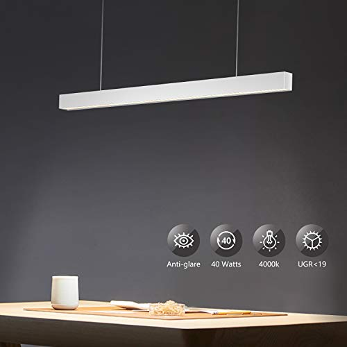 OOWOLF 40W Supermercado LED Lampara De Techo Colgante,Colgante De Luz Blanca Neutra 4000K Altura Regulables 3200lm Para Mesa Oficina, Comedor, Fabrica, Centros