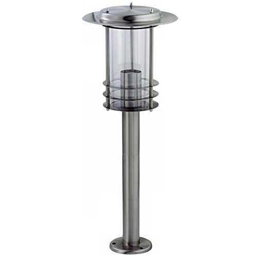 Grafner XL Edelstahl Wegeleuchte mit E27 Fassung, Höhe: 80 cm, Wegleuchte Weglampe Gartenlampe Gartenleuchte Standlampe Außenstandleuchte Pollerleuchte