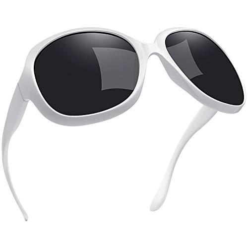 Joopin Gafas de Sol Mujer Moda Polarizadas Protección UV400 de Gran Tamaño Gafas de Sol Señoras Blanco Puro