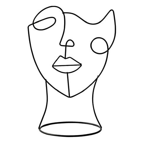 Sanfiyya Abstrakt Gesicht, Skulptur, Modern, Metall, Charakter Figur Kunst Handwerk Statue Ornament Schwarz