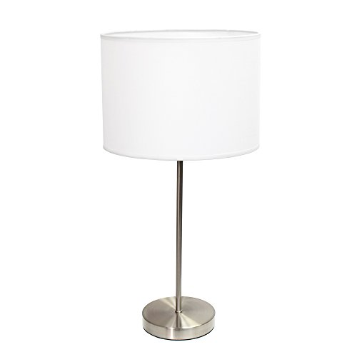 Simple Designs LT2040-WHT Stick Fabric Shade Table Lamp, 3, Brushed Nickel/White