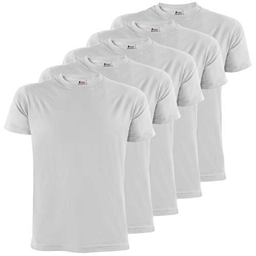 ALPIDEX T-Shirts Hommes Blanc Unis ࠃol Rond Lot de 5, Taille XXL,Cloud