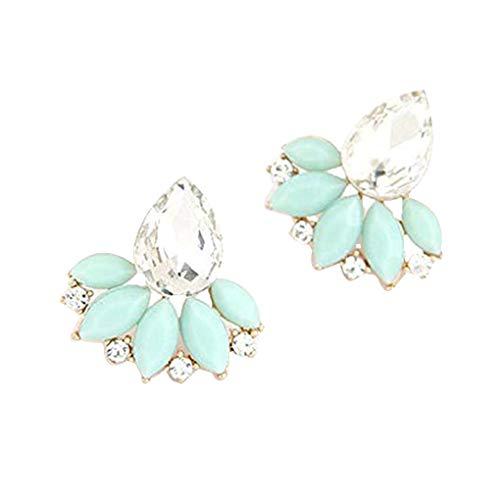 shangjunol 1 joyería de los Cristales Par de Bella Pendientes de Gota de Agua Mujeres Flor Pendientes Verde