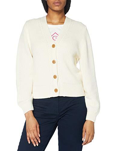 GANT Damen D1. Ribbed V Cardigan Pullover, Cream, XL