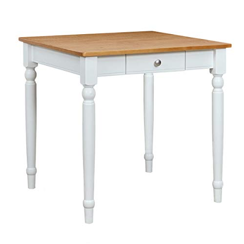 Amazon Brand – Ravenna Home Traditional Dining Table 29'H, White and Rustic Honey Pine