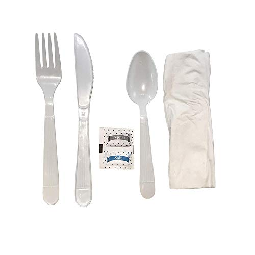 Faithful Supply Plastic Cutlery Packets Individually Wrapped 250case Heavy Duty White Wrapped Cutlery Kit with Fork Spoon Knife Napkin and Salt and Pepper Packets…