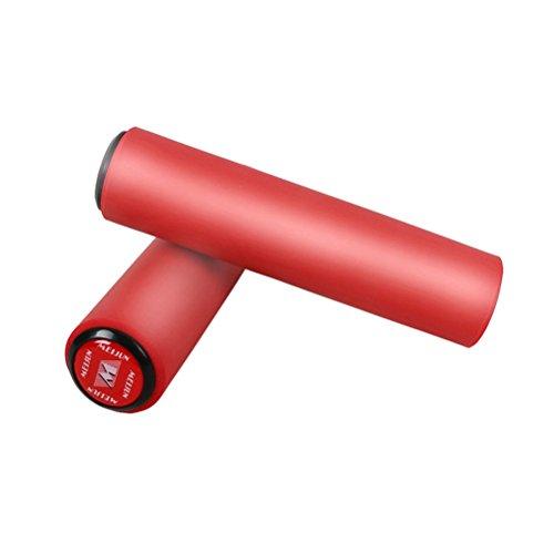 VORCOOL 1 par Puños de Silicona Antideslizante a Prueba de Golpes Apretones de Bicicleta de Montaña de Ciclismo Manillar Universales Amortiguadores de la Bici (Rojo)