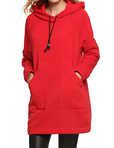 Qearl Women Autumn Loose Warm Pocket Pullover Hoodie Tunic Sweatshirt (M, Red)