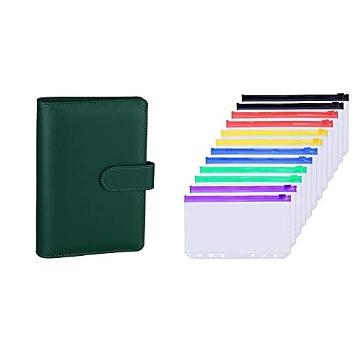 Antner A6 PU Leather Notebook Binder (Dark Green) Bundle   12 Pieces Multicolor Zipper A6 Binder Pockets