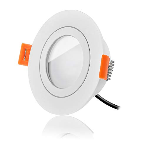 Ledox Led Bad Einbaustrahler IP44 Set dimmbar inkl. Forma Aqua Einbaurahmen rund weiß 230V 6W Modul inkl. Trafo - 120° - 360 Lumen geeignet für Badezimmer (3er Set 2700K warmweiß)