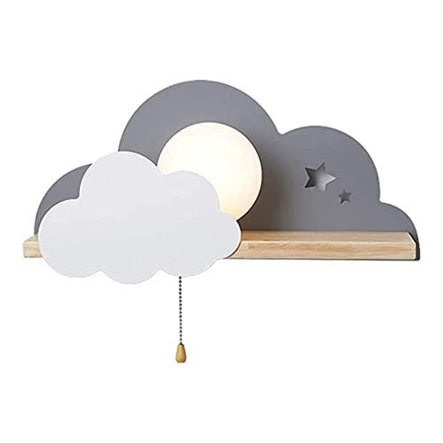 Yokbeer Aplique de Pared de Nube LED para Interiores con Interruptor de Tiro, lámpara de Pared de Madera con Forma de Nube de Dibujos Animados lámpara de Lectura de Pared para niños (Color : Gray)
