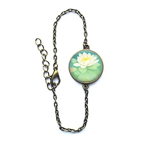 Pulsera de cristal de loto blanco o llavero flor pulsera regalo Lotus Jewelry-#75
