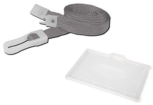 Grau 10mm Kunststoff Clip Schlüsselband * Gratis Wert beiliegenden Karte/Badge Holder *