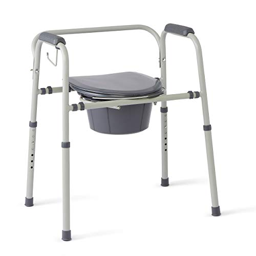 Medline Steel 3-in-1 Bedside Commode, Portable Toilet with Microban Antimicrobial Protection, Can...