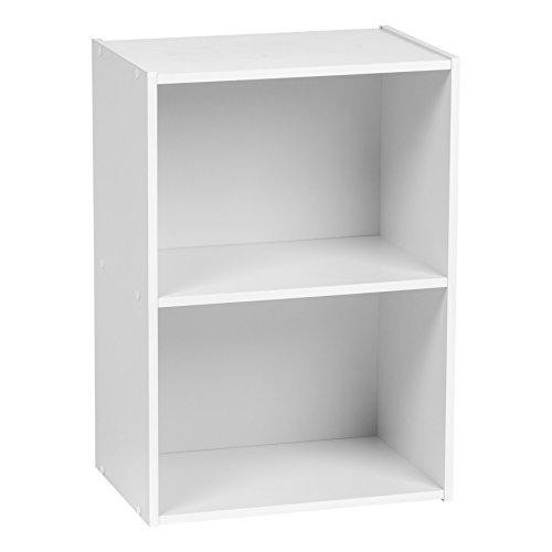 IRIS USA 2-Tier Wood Storage Shelf, White