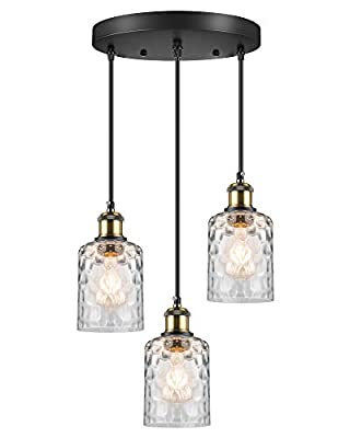 WENFENG Industrial 3-Light Pendant Lighting, Adjustable Hanging Light Fixtures with Water Ripple Glass Shade E26 Base for Kitchen Island Dining Room Living Room Hotel Shop and Bar(Bulb Not Included)