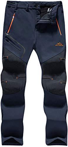 TACVASEN Herren Wind- und Wasserdicht Wanderhose Softshell Hose Snowboardhose Skihose Funktionshose, Schwarzblau